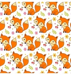 Cute background with cartoon fox and flowers vector image vector image