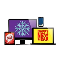 Electronic new year set vector