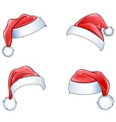 glossy santa hats vector image vector image