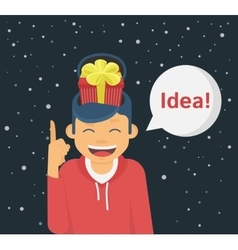 Happy guy got an idea for the christmas gift vector image vector image