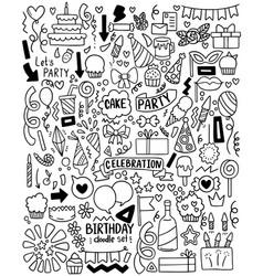 0051 hand drawn party doodle happy birthday vector