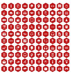 100 audio icons hexagon red vector