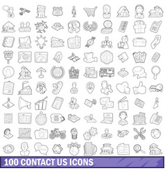 100 contact us icons set outline style vector image