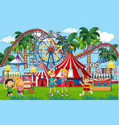 An outdoor funfair scene with kids playing vector