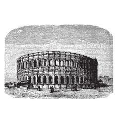 Arena nimes a roman amphitheater during the vector