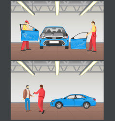auto before and after servicing in car workshop vector image