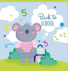 Back to school cute koala with sweater and vector