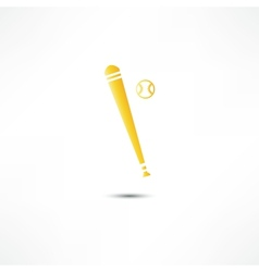 Baseball and bat icon vector