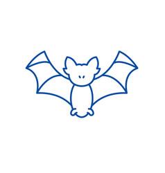 bat line icon concept bat flat symbol vector image