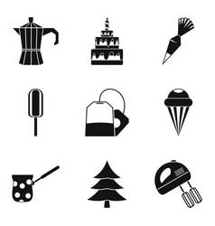 Birthday icon set simple style vector