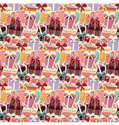 Birthday seamless background with sticker presents vector image