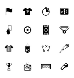 Black soccer icons set vector