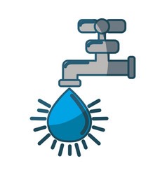 Blue faucet with drop of water icon vector
