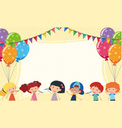 Border template with kids and party balloons vector