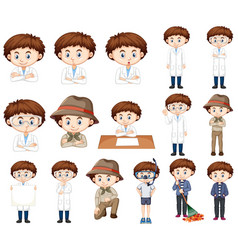 Boy in science gown in many poses vector