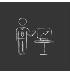 Business presentation Drawn in chalk icon vector image