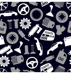 car parts store simple icons seamless dark pattern vector image