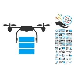 Cargo Drone Icon With 2017 Year Bonus Symbols vector image