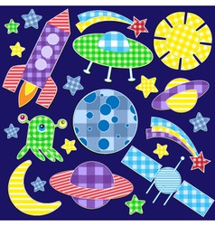 Cartoon space stickers set vector