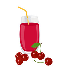 cherry juice a glass of cherry juice and cherries vector image
