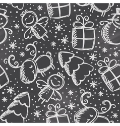 christmas seamless pattern hand drawn xmas symbols vector image