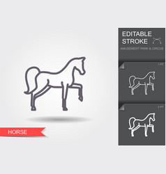 Circus horse line icon with editable stroke vector
