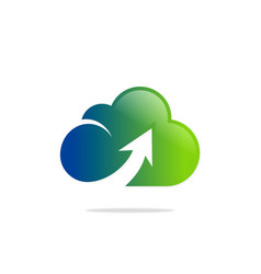 cloud upload colored technology logo vector image