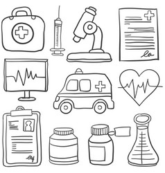 Collection stock of medical doodles vector