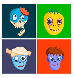 colorful zombie scary cartoon character cards vector image