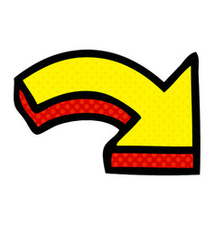 Comic book style cartoon directional arrow vector