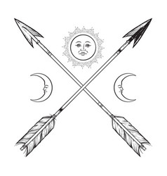 crossed arrows with crescents and full moon vector image