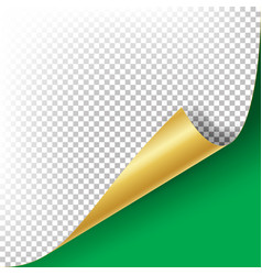 curled golden metalic corner paper with vector image