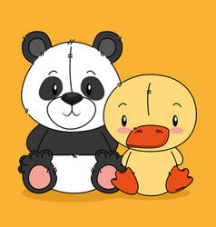 cute bear panda and duck characters vector image