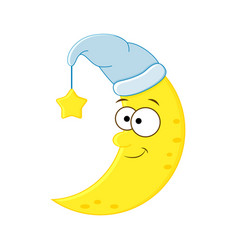 cute cartoon moon in the hat with star vector image