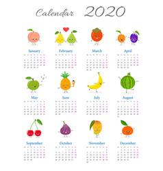 Cute fruit characters calendar 2020 vector