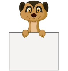Cute meerkat cartoon holding blank sign vector