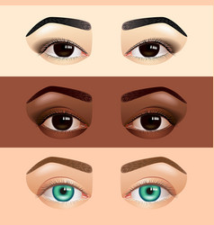 Different ethnicity women eyes asian caucasian vector