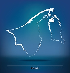 Doodle Map of Brunei vector image