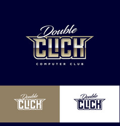 Double click club emblem computing game club logo vector