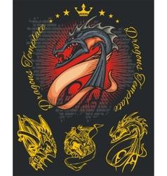 Dragons and ribbons - set Stock vector image