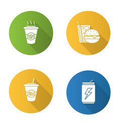 Drinks flat design long shadow glyph icons set vector