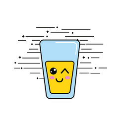 Emblem kawaii funny glass juice icon vector