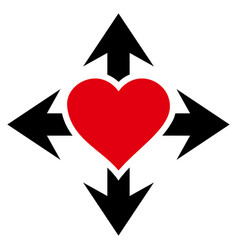 Expand love heart icon vector