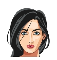 face girl blue eyes black hair long attractive vector image