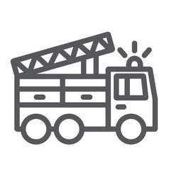 fire truck line icon transport and emergency vector image