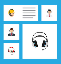 flat icon call set of help headphone hotline and vector image