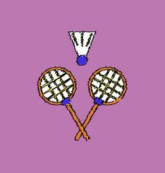 Flat shading style icon kids badminton vector