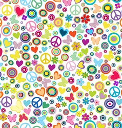 Flower power background seamless pattern with vector