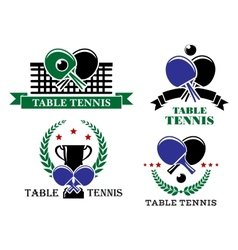 Four table tennis emblems or badges vector