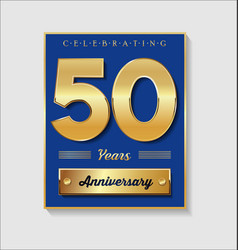 Gold and blue anniversary banner collection 50 vector